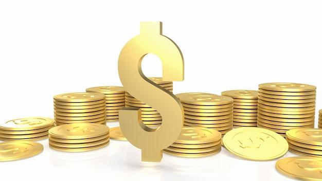 ゴールドゴールドドル記号と白い背景の上のコイン3dレンダリング