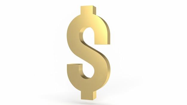 白い背景の上の金の金のドル記号3dレンダリング