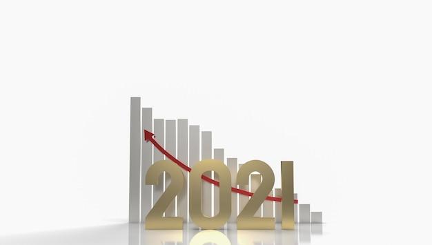 Золотое число 2021 и стрелка вверх для 3d-рендеринга бизнес-контента.