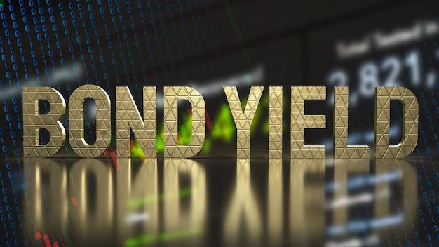 Доходность золотых текстовых облигаций для бизнес-концепции 3d-рендеринга