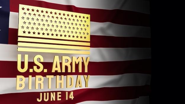 Золотой текст дня рождения армии сша и единая сцена флага америки для концепции праздника 3d-рендеринга