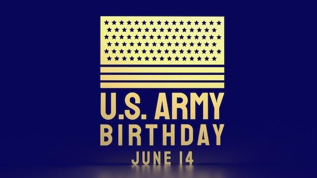 Золотой текст дня рождения армии сша для концепции праздника 3d-рендеринга