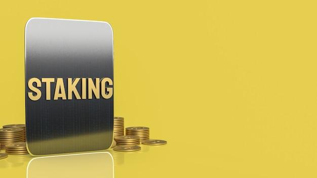 Золотое слово и таблетка для бизнеса или криптовалюты концепции 3d-рендеринга.