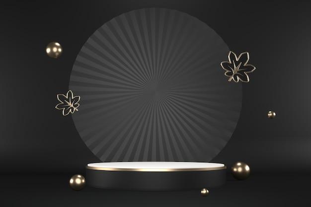 Гранитный шестиугольник золотой дизайн на черном фоне минимален. 3d рендеринг