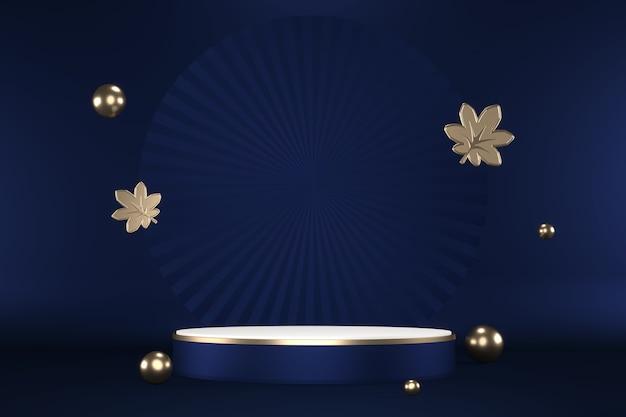 Гранитный шестиугольник золотой дизайн на синем фоне минимален. 3d рендеринг