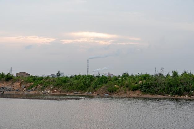 염수 알칼리 땅의 녹색 식물과 물은 풍경을 반영합니다