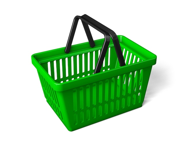 緑の買い物かごは横向きになっています。白い背景で隔離。 3dレンダリング。