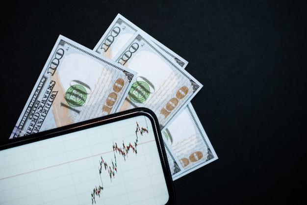 글로벌 위기에서 벗어날 수있는 달러의 성장. 증권 거래소 주식의 판매