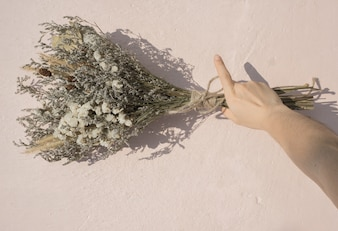The hand holding a bouquet of dried flowers placed on the floor.