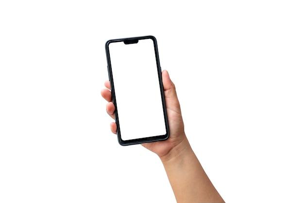 Рука держит белый экран, мобильный телефон изолирован на белом фоне