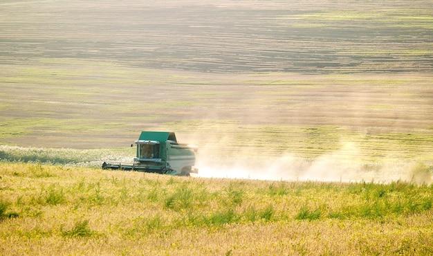 果てしない畑の中で収穫機が収穫する