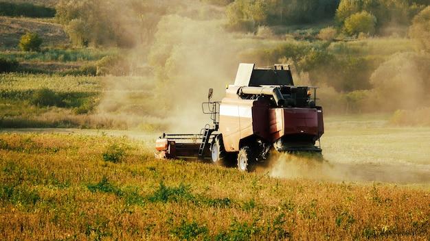 끝없는 들판에서 수확하는 수확기