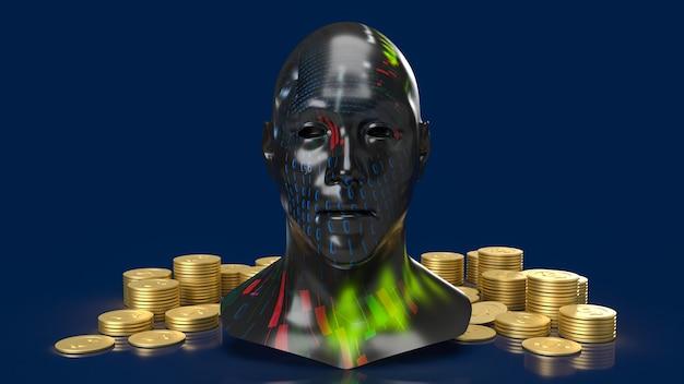 비즈니스 개념 3d 렌더링을 위한 헤드 비즈니스 텍스처 및 금화