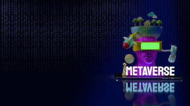 메타 버스 또는 기술 개념 3d 렌더링을위한 태블릿의 헤드셋