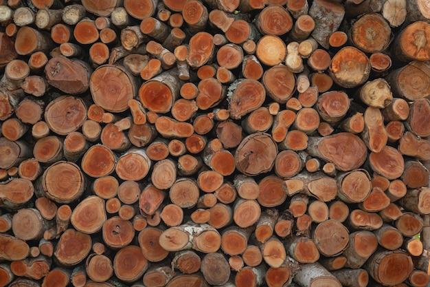 さまざまなサイズの木の丸太の山