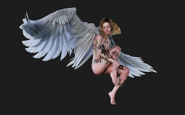 Крылья небесного ангела, белое оперение крыла, изолированные на черном фоне с обтравочным контуром.
