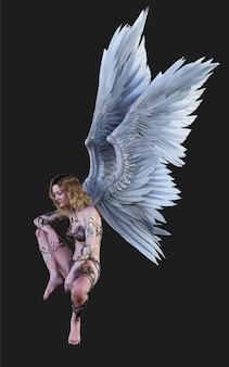 하늘 천사 날개 흰색 날개 깃털 클리핑 패스와 함께 검은 배경에 고립 프리미엄 사진