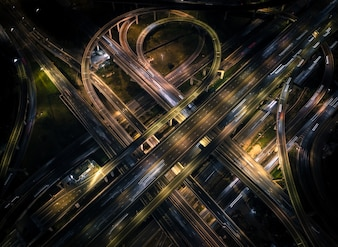 The highway in the big city, expressway enter the city