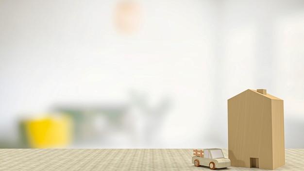 부동산 또는 부동산 개념 3d 렌더링을 위한 집과 자동차 나무 장난감