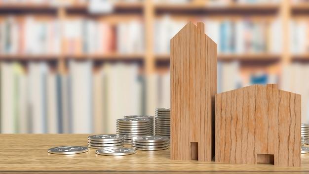 Деревянные и серебряные монеты дома для собственности или концепции здания 3d-рендеринга