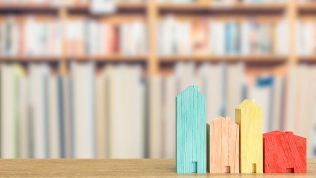 Многоцветный дом из дерева для концепции недвижимости или здания 3d-рендеринга