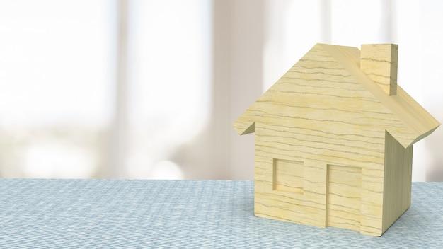 재산 또는 부동산 개념 3d 렌더링에 대 한 테이블에 집 나무