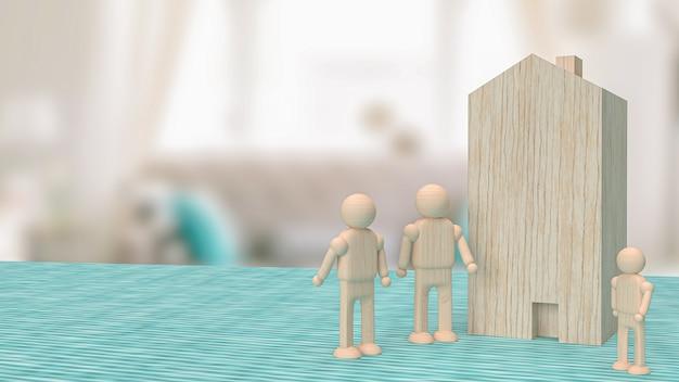 재산 또는 건물 개념 3d 렌더링을 위한 거실에 있는 가정용 나무 장난감