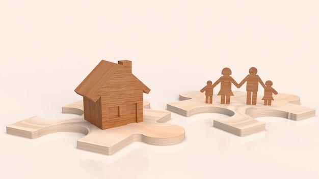 퍼즐 3d 렌더링에 집 나무와 가족 접시. 프리미엄 사진