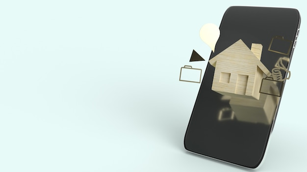집 나무 장난감 및 스마트 폰, 3d 렌더링