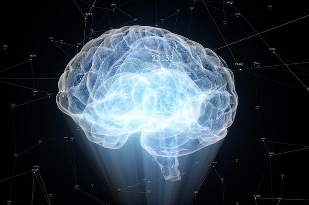 発光粒子で形成された人間の脳