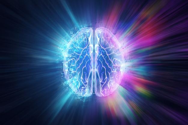 파란색 배경에 인간의 두뇌, 반구는 논리를 담당