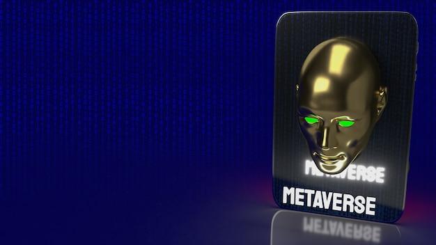 메타버스 개념 3d 렌더링을 위한 인간의 머리와 테이블