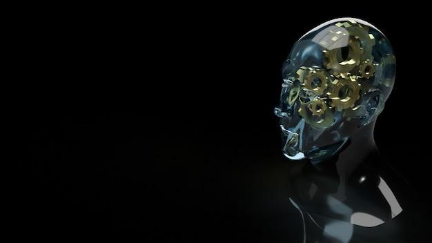 Кристалл головы человека и золотая шестерня внутри для содержания идеи символа 3d-рендеринга