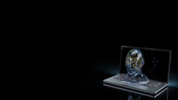 Кристалл головы человека и золотая шестеренка внутри ноутбука для машинного обучения или 3d-рендеринга контента