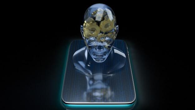 Кристалл головы человека и золотая шестерня внутри на планшете для машинного обучения или 3d-рендеринга контента