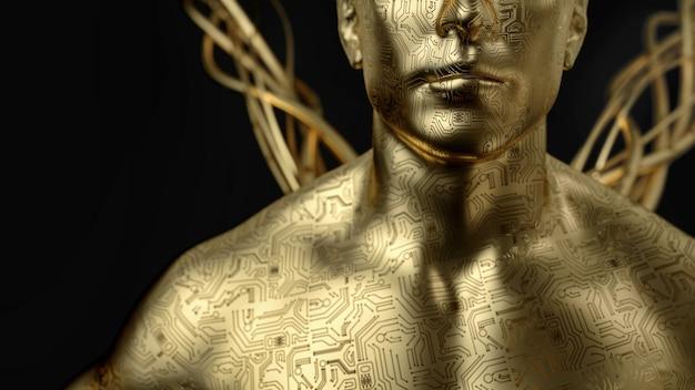 회로 기판 주위에 인간입니다. 골드 맨 3d 렌더링 및 그림입니다.