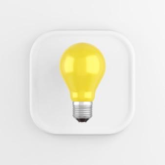 Значок представляет собой реалистичную желтую лампочку, белую квадратную кнопку. 3d-рендеринг.