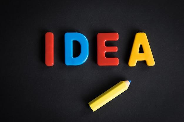 Идея написана на столе разноцветными буквами