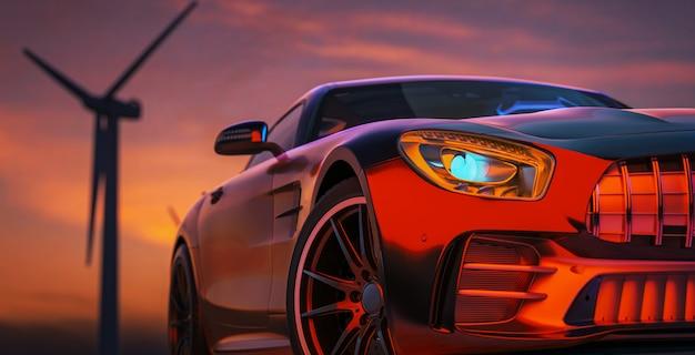Изображение перед спортивным автомобилем, сцена позади заходящего солнца с ветряными турбинами сзади. 3d визуализация и иллюстрация.