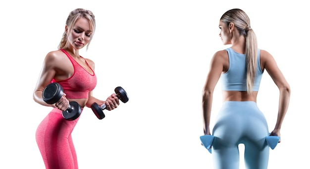 Изображение двух спортивных сексуальных девушек на белом фоне. концепция фитнеса. высокого качества