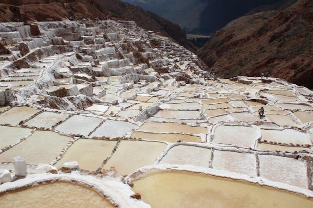 ペルーのマラスの印象的な塩鉱山