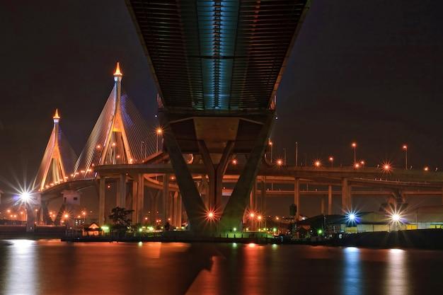 산업 링 브릿지는 태국에서 황혼에 중앙 원근법으로 빛납니다. 차오 프라야 강과 방콕 항구를 건너는 다리