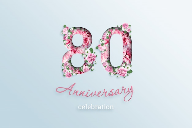 Надпись 80 числа и празднование годовщины textis flowers, на свет