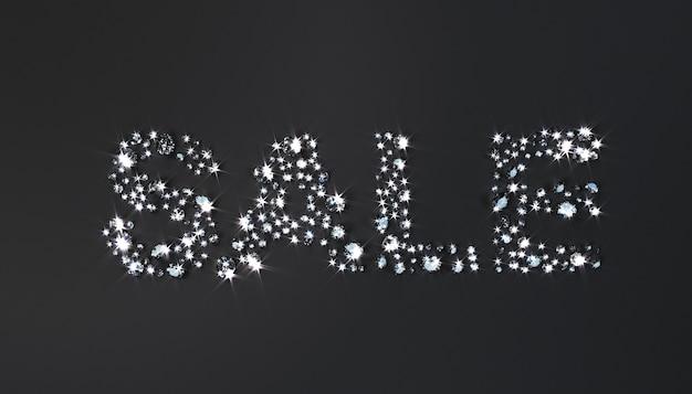 黒の背景にダイヤモンドが並ぶ碑文「セール」。 3dイラスト