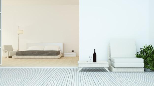 호텔 3d 렌더링의 인테리어 침실