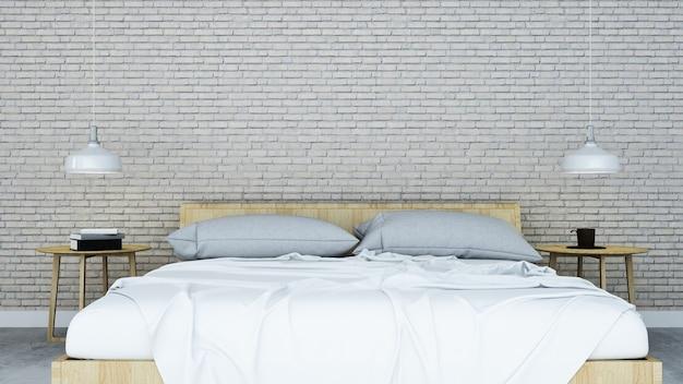 アパートと背景装飾のインテリアベッドルームスペースロフトデザイン