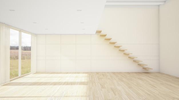 Дизайн интерьера пустой комнаты 3d рендеринга