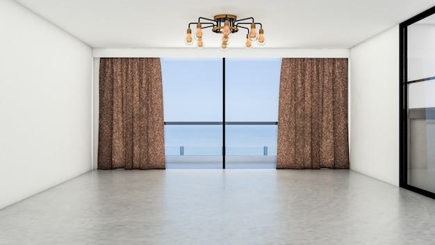 창 또는 문과 판석 바닥이있는 빈 방과 거실 현대적인 스타일의 인테리어 디자인. 3d 렌더링