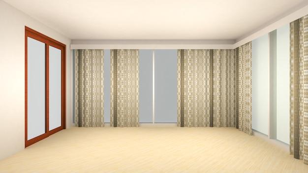 빈 방과 거실의 인테리어 디자인은 창 또는 문과 나무 바닥이있는 현대적인 스타일입니다. 3d 렌더링
