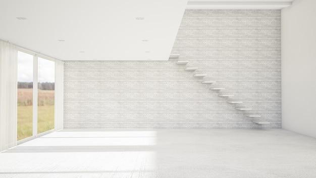 빈 방과 거실 현대적인 스타일의 인테리어 디자인